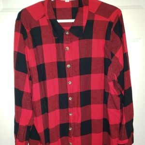 Red/Black Plaid Flannel shirt